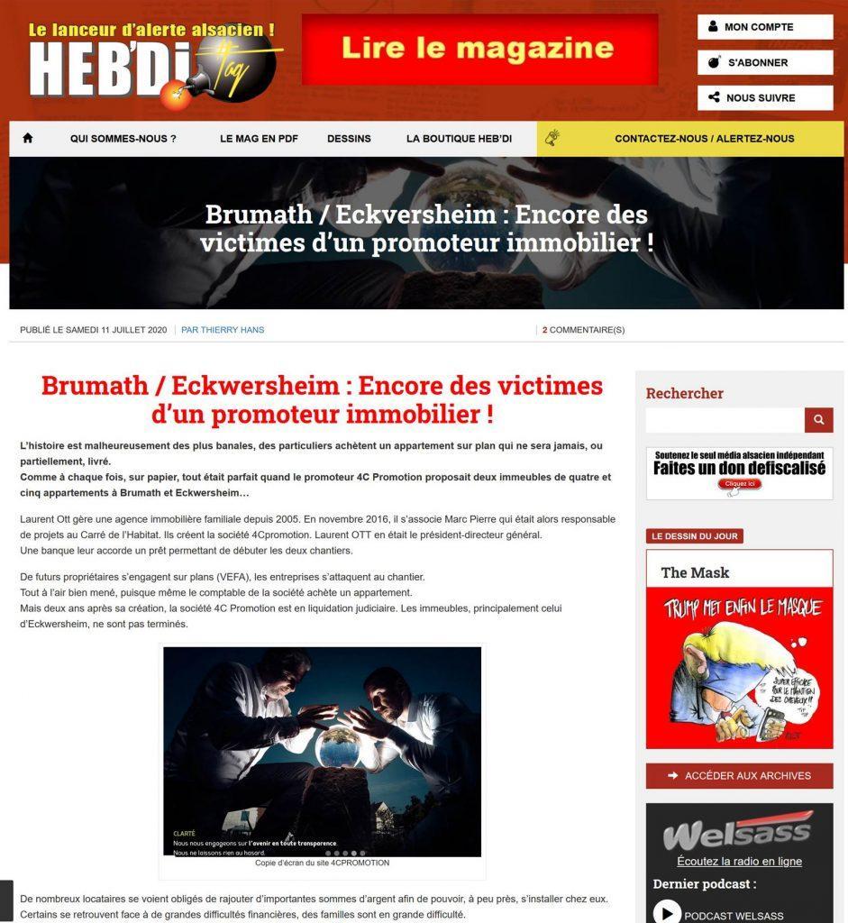 Article Hebd'i sur le dossier 4C Promotion